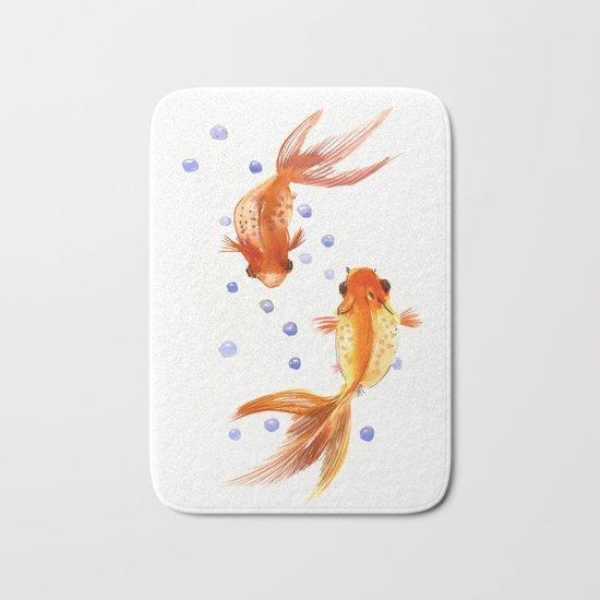 Goldfish two fish koi asian style watercolor art bath for Fish bath mat