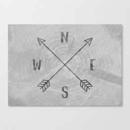 Compass Black and White Tree Canvas Print