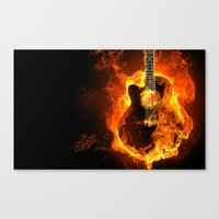 guitar Canvas Prints featuring Guitar  by wowpeer