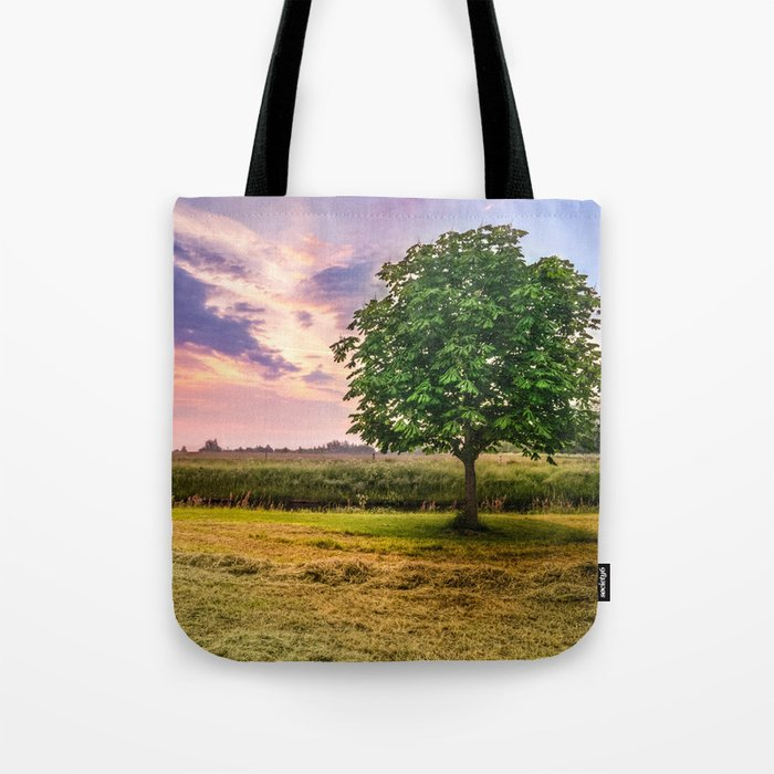 Green Tree and Sunset Sky Tote Bag