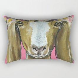 Flower Crown Goat, Goat Painting, Farm Animal Rectangular Pillow