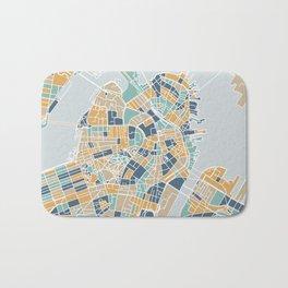 Navy and gold Boston map Bath Mat