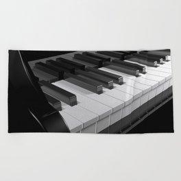 Keyboard of a black piano - 3D rendering Beach Towel
