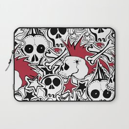 Seamles pattern. Crazy punk rock abstract background. Skulls,stars, rock symbols Laptop Sleeve