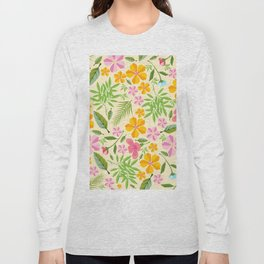 Abstract sunshine yellow pink tropical floral Long Sleeve T-shirt