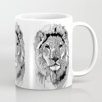 nfl Mugs featuring Animal Prints - Proud Lion - By Sharon Cummings by Sharon Cummings