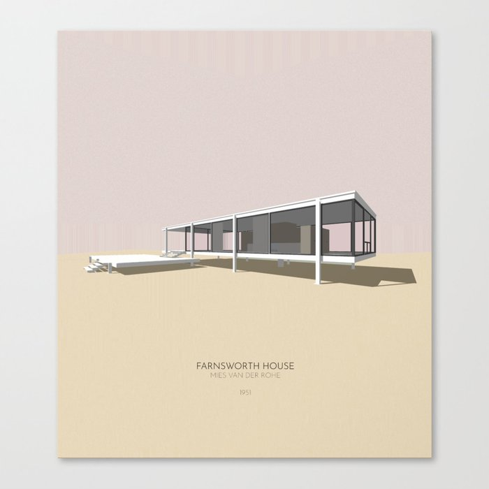 Farnsworth House Mies van der Rohe Canvas Print