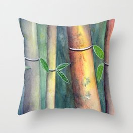 Magical Bamboo Forest Watercolor mixed media Throw Pillow