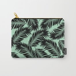 Palm Frond Tropical Décor Leaf Pattern Black on Mint Green Carry-All Pouch