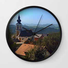 Village church, skyline and panorama | landscape photography Wall Clock