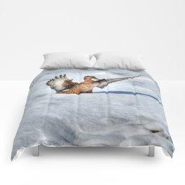 Happy Landing - Mallard Duck in Snow Comforters