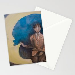 Watercolor Portrait of Boy on a Crescent Moon Stationery Cards