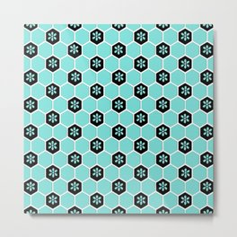 Blue Floral Honeycomb Metal Print