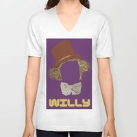 roald dahl V-neck T-shirts featuring Willy Wonka and you by Ally Simmons