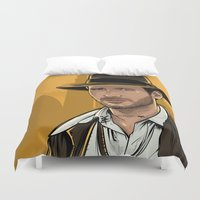 indiana jones Duvet Covers featuring Indiana by Akyanyme