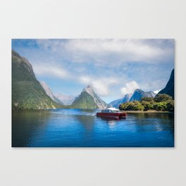 A Boat Cruise at Milford Sound, New Zealand Canvas Print