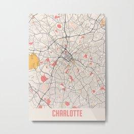 Charlotte - North Carolina Chalk City Map Metal Print