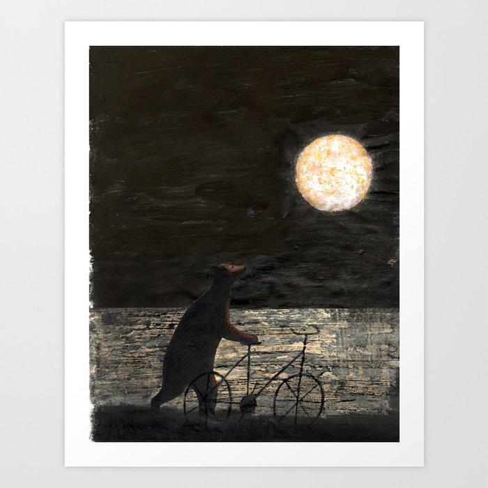 Bear and Full Moon Art Print