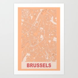 Brussels, Belgium, city map, Pink Art Print