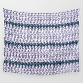 Lilac and teal striped crochet Wall Tapestry