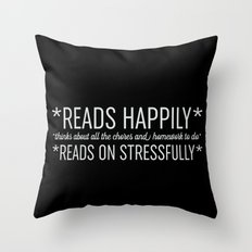 Reads Happily - Black Throw Pillow