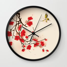 Oriental plum blossom in spring 011 Wall Clock