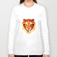 low poly Long Sleeve T-shirts featuring Low Poly Tiger by Evan Smith