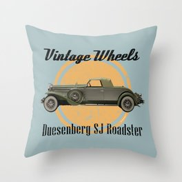 Vintage Wheels: Duesenberg SJ Roadster Throw Pillow