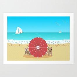 Holiday Romance - Behind the Red Umbrella Art Print