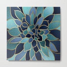 Art Designs, Floral Prints, Navy Blue, Teal and Gold Metal Print
