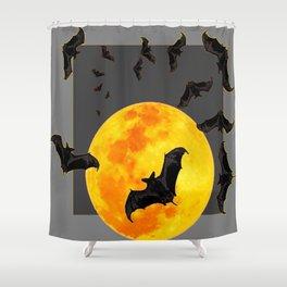 GREY HALLOWEEN BAT MIGRATION TO  MOON ART Shower Curtain