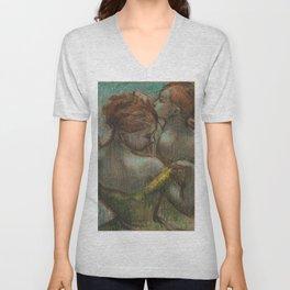 """Edgar Degas """"Two dancers - half-length"""" Unisex V-Neck"""