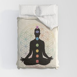 Sacred Geometry Flower of Life Chakra Meditation Comforters