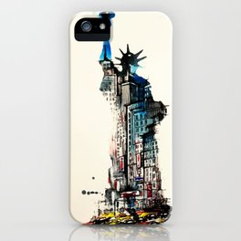 Vintage Liberty New York City Travel Love Watercolor iPhone Case