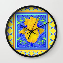 Blue-Yellow Lattice design Yellow Floral Art. Wall Clock