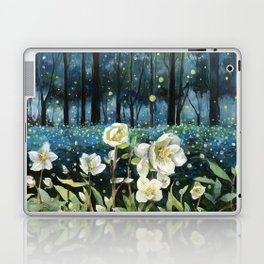 Magical Forest at Night, Fireflies and Helleborus Laptop & iPad Skin