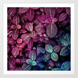 Abstract burgundy red blue gradient watercolor foliage Art Print