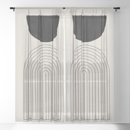 Arch, geometric modern art Sheer Curtain