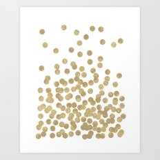 Gold Glitter Dots in scattered pattern Art Print