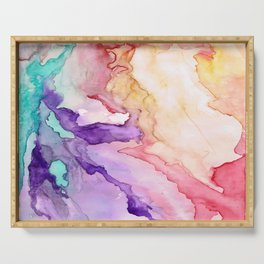 Color My World Watercolor Abstract Painting Serving Tray