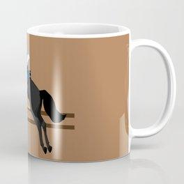 Jumping Black Horse and a Man Coffee Mug