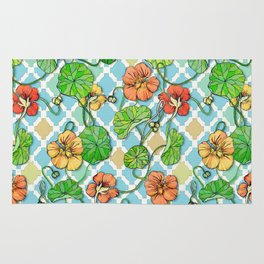 Climbing Nasturtiums on Blue and White Rug