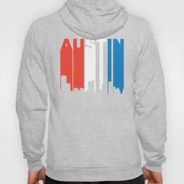 Red White And Blue Austin Texas Skyline Hoody