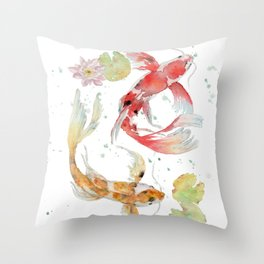 "Watercolor Painting of Picture ""Koi Pond"" Throw Pillow"