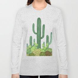 Desert Cacti on Black Long Sleeve T-shirt
