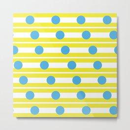 Geometric Stripe & Spot Yellow & Cyan Blue Metal Print
