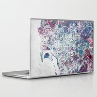 san diego Laptop & iPad Skins featuring San Diego map by MapMapMaps.Watercolors