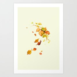 Autumn leaves watercolor painting #2 Art Print