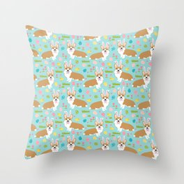 Corgis Easter - cute pastel spring corgi fabric Throw Pillow