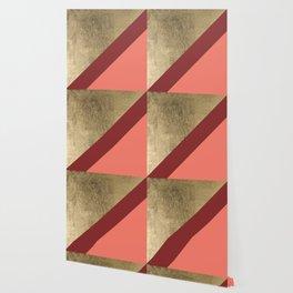 Modern gold foil burgundy peach color block geometric stripes pattern Wallpaper
